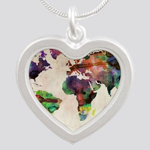 World Map Urban Watercolor 1 Silver Heart Necklace