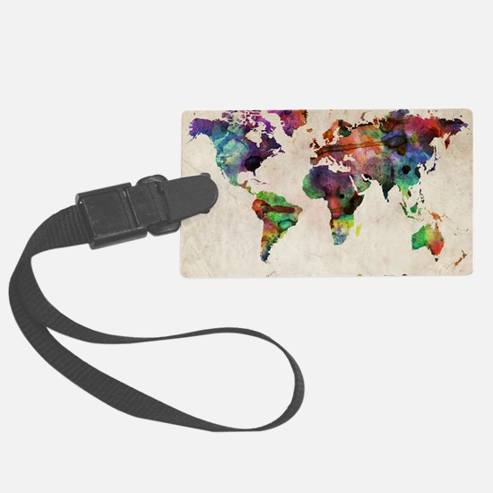 World Map Urban Watercolor 14x10 Luggage Tag