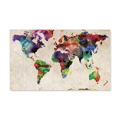 World Map Urban Watercolor 14x10 20x12 Wall Decal & Travel Wall Decals - CafePress