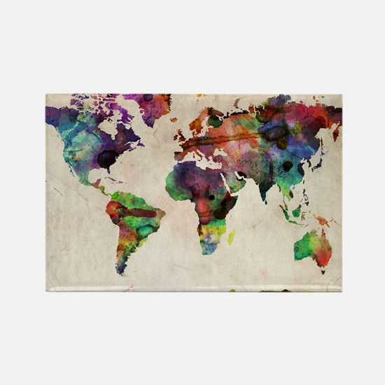 World Map Urban Watercolor 14x10 Rectangle Magnet