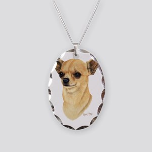 Chihuahua Dark copy Necklace Oval Charm