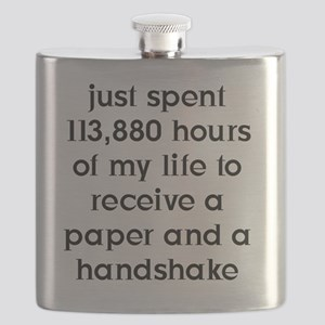 10x10Paper and Handshake FRONT (BLK) Image Flask