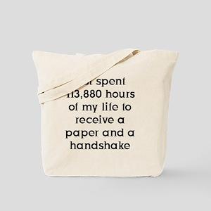 10x10Paper and Handshake FRONT (BLK) Imag Tote Bag
