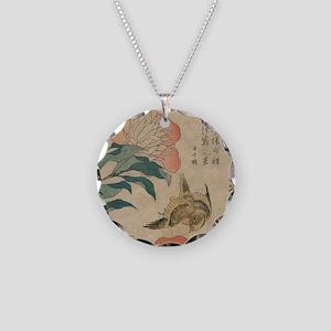 Hokusai Peony and Canary 1 Necklace Circle Charm