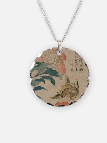 Hokusai Peony and Canary 1 Necklace