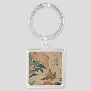 Hokusai Peony and Canary 1 Square Keychain