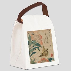 Hokusai Peony and Canary 1 Canvas Lunch Bag