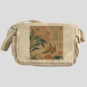 Hokusai Peony and Canary 1 Messenger Bag