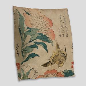 Hokusai Peony and Canary 1 Burlap Throw Pillow