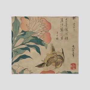 Hokusai Peony and Canary 1 Throw Blanket