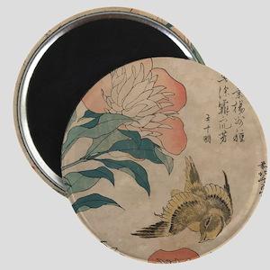 Hokusai Peony and Canary 1 Magnet