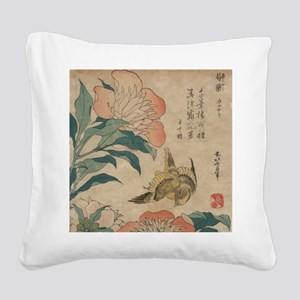 Hokusai Peony and Canary 1 Square Canvas Pillow