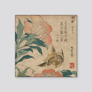 "Hokusai Peony and Canary 1 Square Sticker 3"" x 3"""