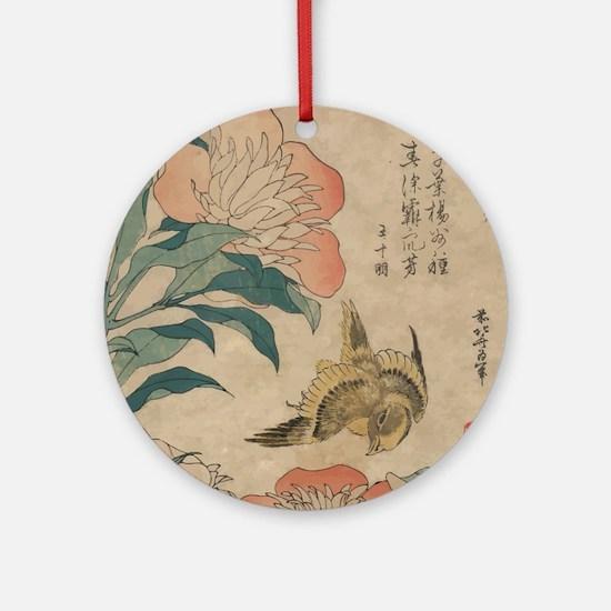 Hokusai Peony and Canary 1 Round Ornament