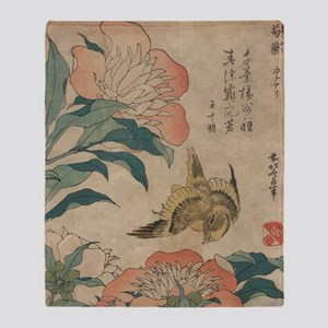 Hokusai Peony and Canary 2 Throw Blanket
