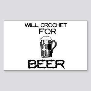 Will Crochet for Beer Rectangle Sticker