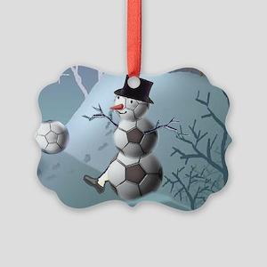 Soccer Snowman Christmas Sports L Picture Ornament