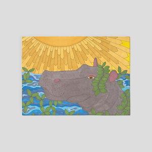 Hippo Happiness 5'x7'Area Rug
