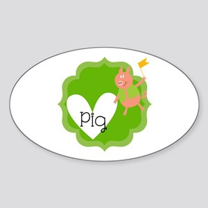 Love Pigs Sticker (Oval)