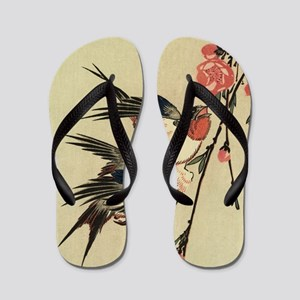 Hiroshige Swallows and Peach Blossoms S Flip Flops