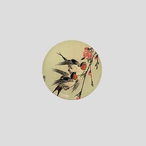 Hiroshige Swallows and Peach Blossoms  Mini Button