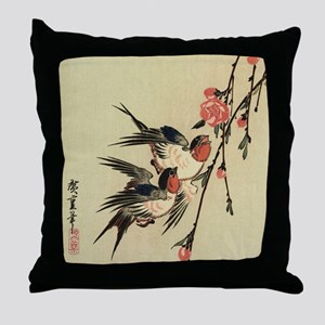 Hiroshige Swallows and Peach Blossoms Throw Pillow