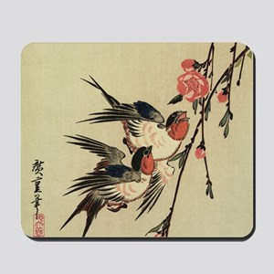 Hiroshige Swallows and Peach Blossoms SC Mousepad