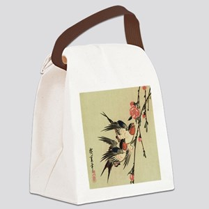 Hiroshige Swallows and Peach Blos Canvas Lunch Bag