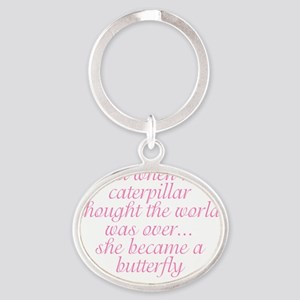 butterfly_adorable Oval Keychain