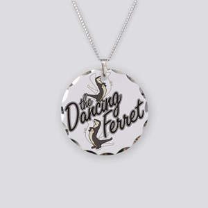 Dancing Ferret Necklace Circle Charm