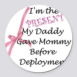 Present from Daddy-Girl Round Car Magnet