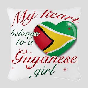 guyanese girl Woven Throw Pillow