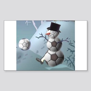 Soccer Christmas Snowman Sticker (Rectangle 10 pk)