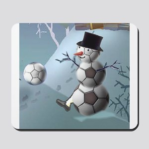 Soccer Christmas Snowman Mousepad