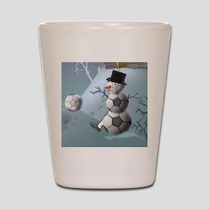 Soccer Christmas Snowman Shot Glass