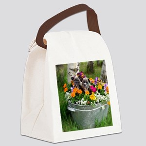 flowers frenchies Canvas Lunch Bag