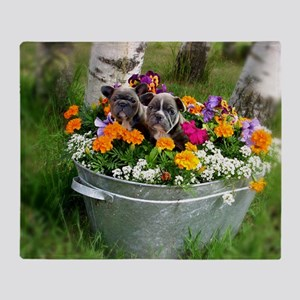flowers frenchies Throw Blanket