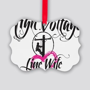 high voltage line wife white shir Picture Ornament