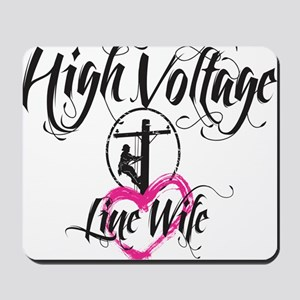 high voltage line wife white shirt Mousepad