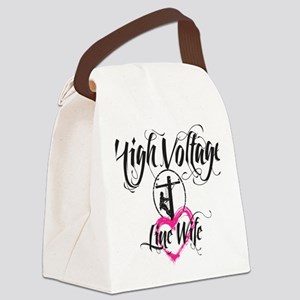 high voltage line wife white shir Canvas Lunch Bag