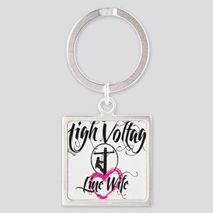 high voltage line wife white shirt Square Keychain