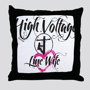 high voltage line wife white shirt Throw Pillow