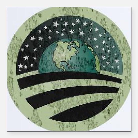 "Obama Earth Logo Square Car Magnet 3"" x 3"""