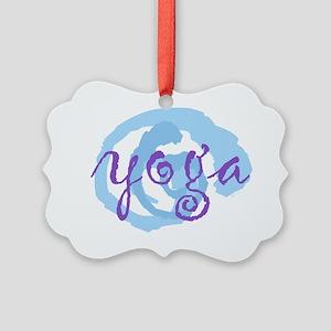 cp yoga swirls purple blue large  Picture Ornament