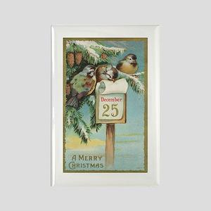Vintage Christmas Sparrows Rectangle Magnet