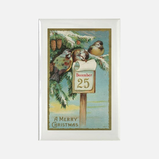 Vintage Christmas Sparrows Rectangle Magnet