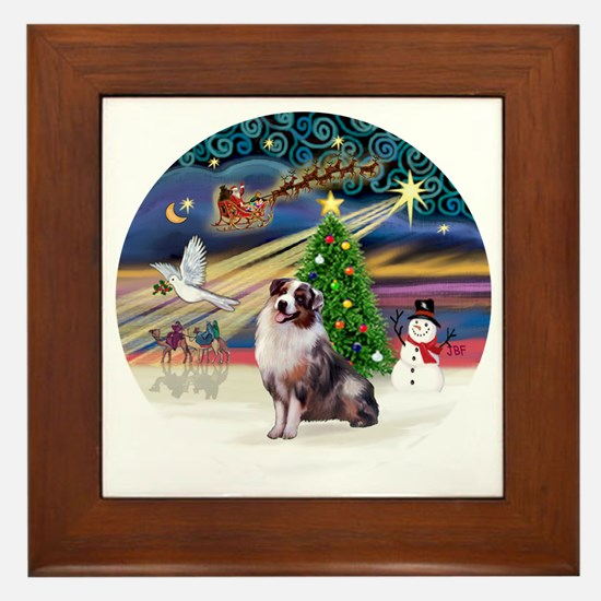 XmasMagic-AussieShep1 Framed Tile