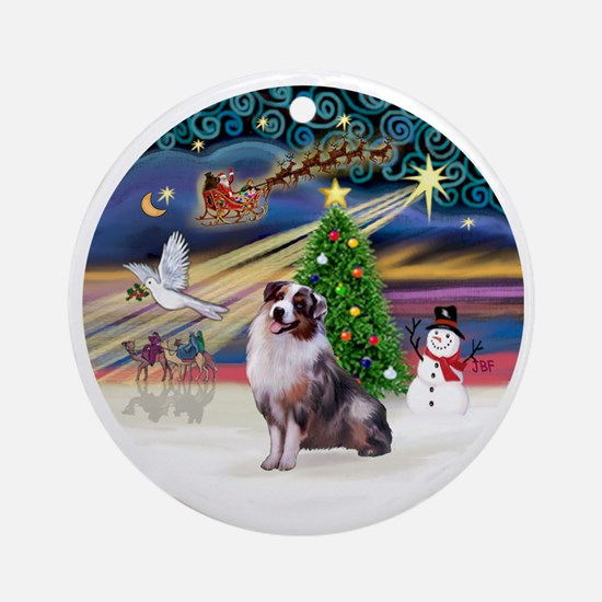 XmasMagic-AussieShep1 Round Ornament