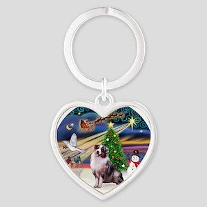 XmasMagic-AussieShep1 Heart Keychain