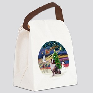 XmasMagic-AussieShep1 Canvas Lunch Bag